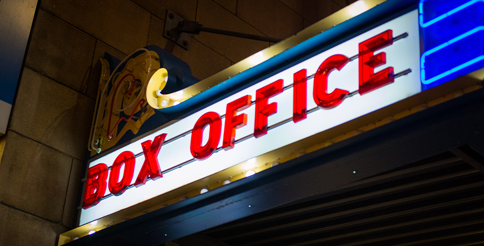 View of a theater box office marquee