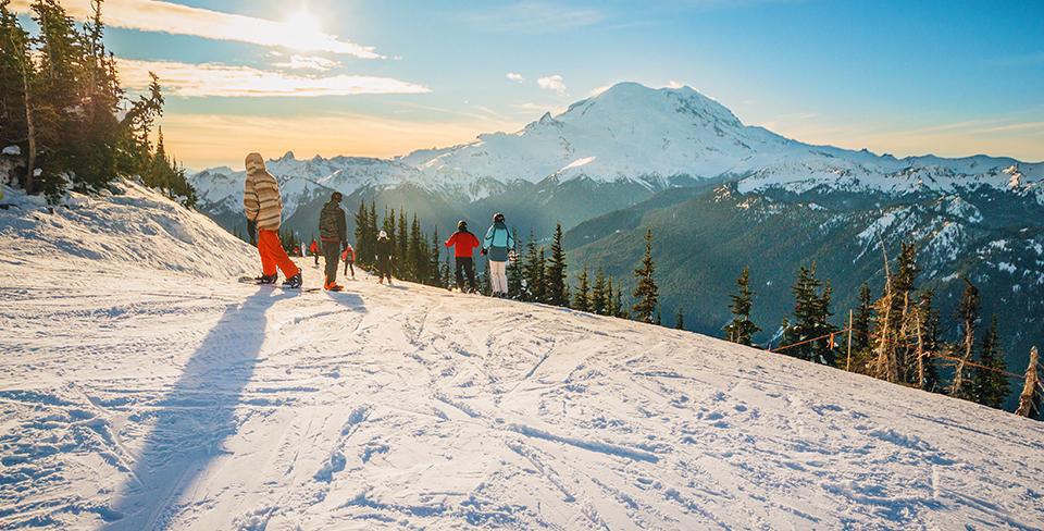 Snowboarders winter in Lake Tahoe